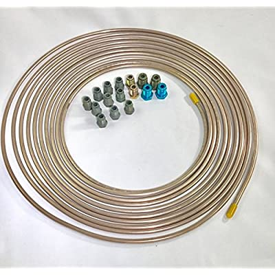 """25 ft. Copper Nickel 3/16"""" Brake Line Tubing w/metric brake line ISO/Bubble Flare fittings (Pack of 16 fittings): Automotive"""