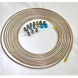 "25 ft. Copper Nickel 3/16"" Brake Line Tubing w/ metric brake line ISO/Bubble Flare fittings . (Pack of 16 fittings)"