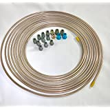 "25 ft. Copper Nickel 3/16"" Brake Line Tubing w/metric brake line ISO/Bubble Flare fittings (Pack of 16 fittings)"