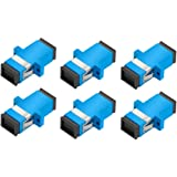 Yohii 6 Pcs Plastic SC to SC Duplex Flange Fiber Optic Connector Adapter Coupler