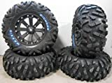 Bundle - 9 Items: MSA Black Kore 14'' ATV Wheels 28'' BigHorn Tires [4x156 Bolt Pattern 12mmx1.5 Lug Kit]