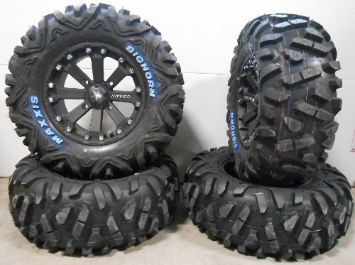 Bundle - 9 Items: MSA Black Kore 14'' ATV Wheels 28'' BigHorn Tires [4x156 Bolt Pattern 3/8x24 Lug Kit] by Powersports Bundle