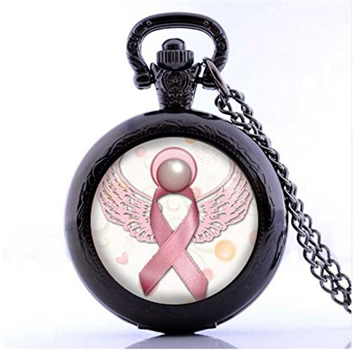 Angel Pink Breast Cancer Awareness Ribbon Swirl Heart Pocket Watch Necklace Glass Art Print Jewelry Charm Gifts for Girls (Cancer Awareness Breast Watch Beading)