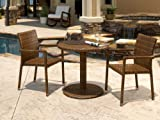 Panama Jack Outdoor 3-Piece St Barths Bistro Armchair Set, Includes 2 Armchairs and 30-Inch Round Woven Table