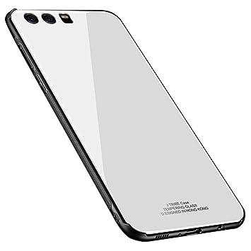 Kepuch Quartz Funda para Huawei P9 Plus - TPU Suave + Contraportada Hecha de Vidrio Templado Case Carcasa para Huawei P9 Plus - Blanco