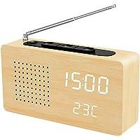 LAOPAO クロックラジオ FMラジオ デジタル時計 木目調 多機能 USB/電池給電 光度調節可能 音声感知 温度表示 小型 ポータブル 屋内と屋外用