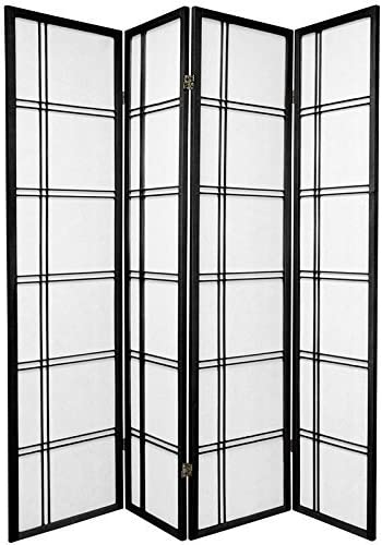 Double Cross Folding Shoji 4 Panel Screen Room Divider