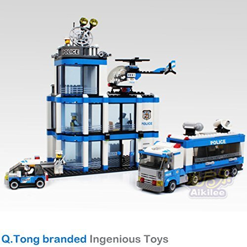 Q.TONG branded / police station mobile unit helicopter car 7 policeman / Ingenious Toys #TS10126A by Ingenious Toys