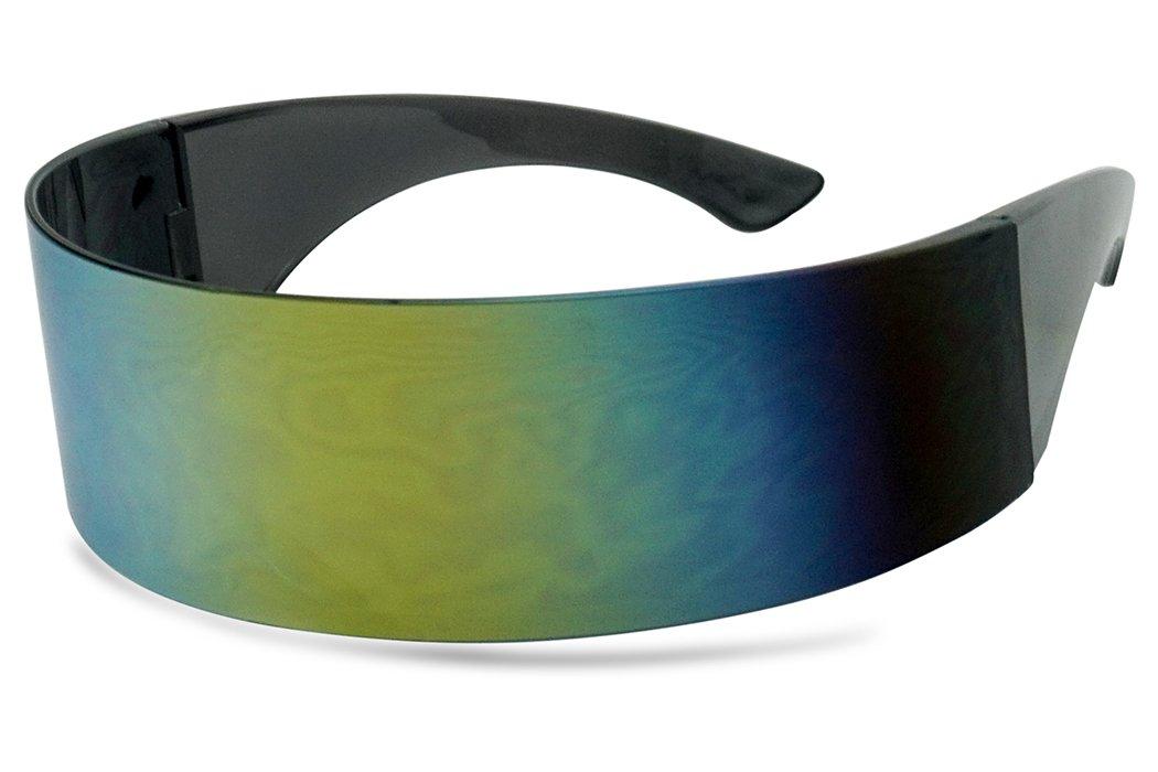 Black Retro Futuristic Single Shield Color Oversized Wrap Cyclops/Visor Sunglasses (Smoke, Yellow Mirror) by SunglassUP