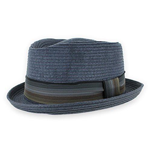 5fb03eca62f Belfry Men Women Pork Pie Trilby Summer Straw Fedora Hat in Blue, Tan, Black