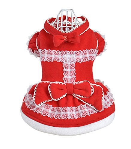 Uniquorn Pet Winter Dog Turned Equipment Large Red Festive Christmas Dress Cute Warm Dog Skirt (70s Cop Costume)