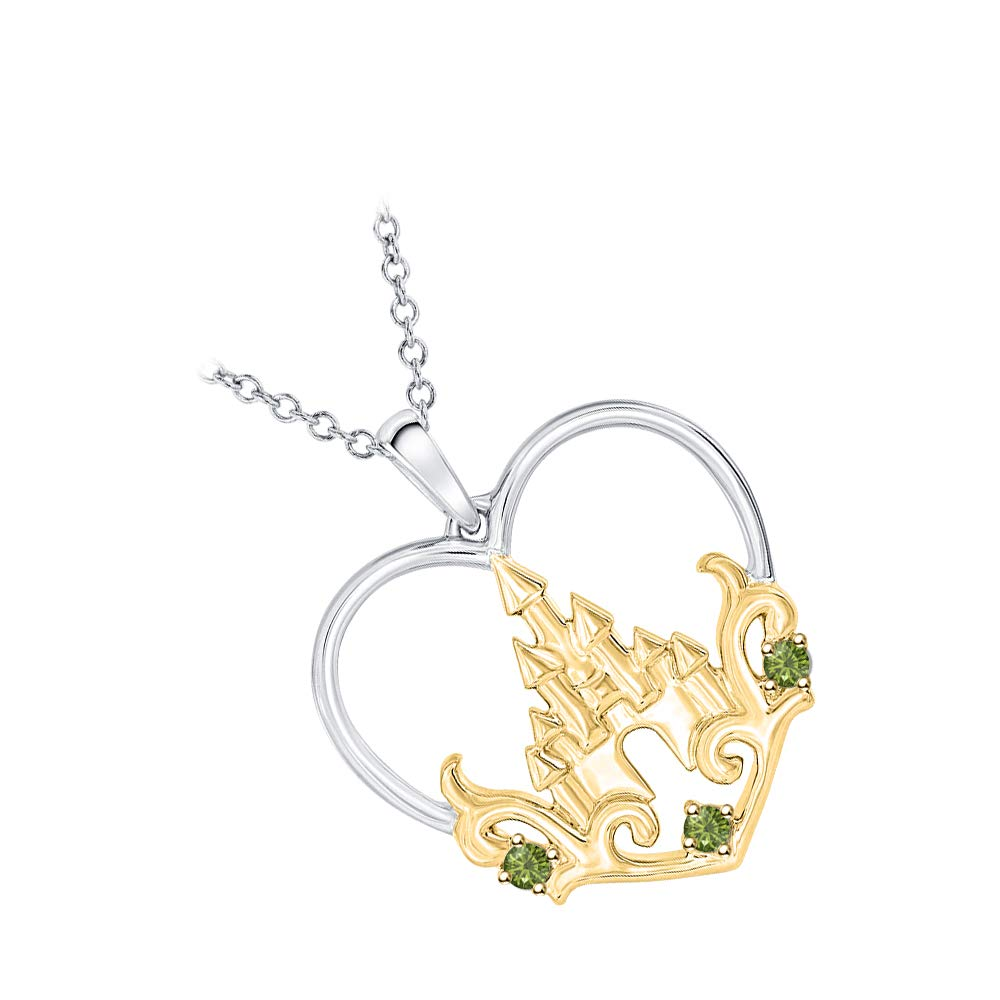 tusakha Princess Castle Gemstone Heart Pendant Necklace 14K White /& Yellow Gold Over 925 Sterling Silver for Girls