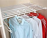 Csstel Adjustable Storage Rack Shelf, Retractable Layed Separator Shelf with 3 Pinch Plates for Wardrobe, Cupboard, Kitchen, Bathroom, Bookcase Compartment Collecting/38-60cm (Beige)