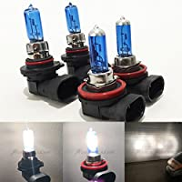 Combo H11 9005-HB3 Super White 5000K Xenon Halogen Headlight Bulb (High/Low Beam) Hi/Lo 12V Oem Head Light Car US Seller