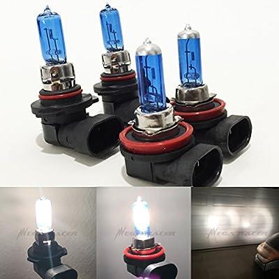 Combo H11 9005-HB3 Super White 5000K Xenon Halogen Headlight Bulb (High/Low Beam) Hi/Lo 12V Oem Head Light Car US Seller