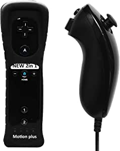 Wii U Remote Controller, Built in Motion Plus Remote and Nunchuk Controller with Silicon Case and Wrist Strap for Nintendo Wii and Wii U (Black)