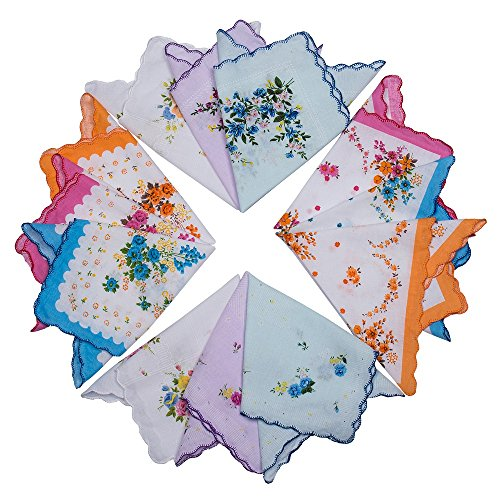 Womens Vintage Handkerchiefs Floral Wedding Party Cotton Hankies – 12PCS