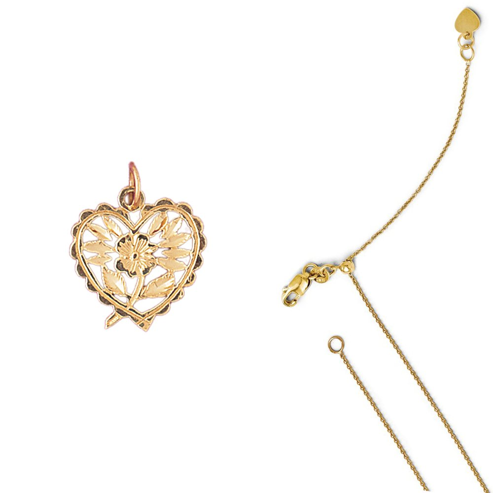 14K Yellow Gold Heart with Rose Pendant on an Adjustable 14K Yellow Gold Chain Necklace
