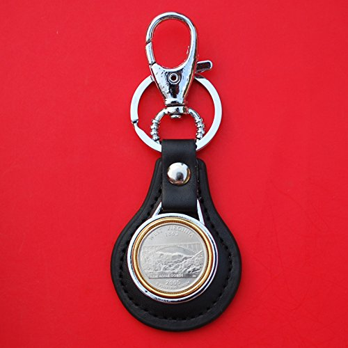 (US 2005 West Virginia State Quarter BU Uncirculated Coin Gold Silver Two Tone Leather Key Chain Ring NEW)