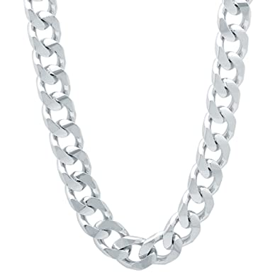 The Bling Factory 9mm Rhodium Plated Double Cuban Link Curb Chain + Microfiber Jewelry Polishing Cloth BUBm3D6A