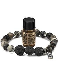 SaintH Black Webstone Lava Stone Diffuser Bracelet includes Essential Oil Sample