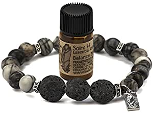 Saint H Black Webstone Lava Stone Diffuser Bracelet Includes Essential Oil Sample-Medium