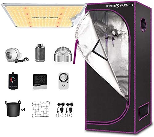 Spider Farmer Grow Tent Kit Complete SF-1000 Full Spectrum Dimmable LED Grow Light 27 X 27 X 62 Grow Tent 4 Fan Filter Ventilation System Combo Other Accessories for Indoor Plants Growing Package