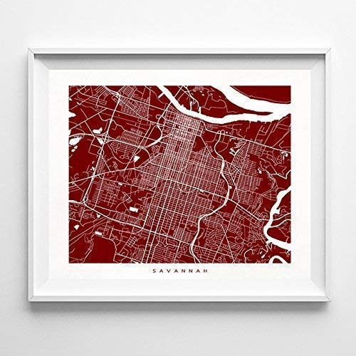 (Savannah Georgia Street Road Map Home Decor Poster Urban City Hometown Wall Art Print - 70 Color Options - Unframed)
