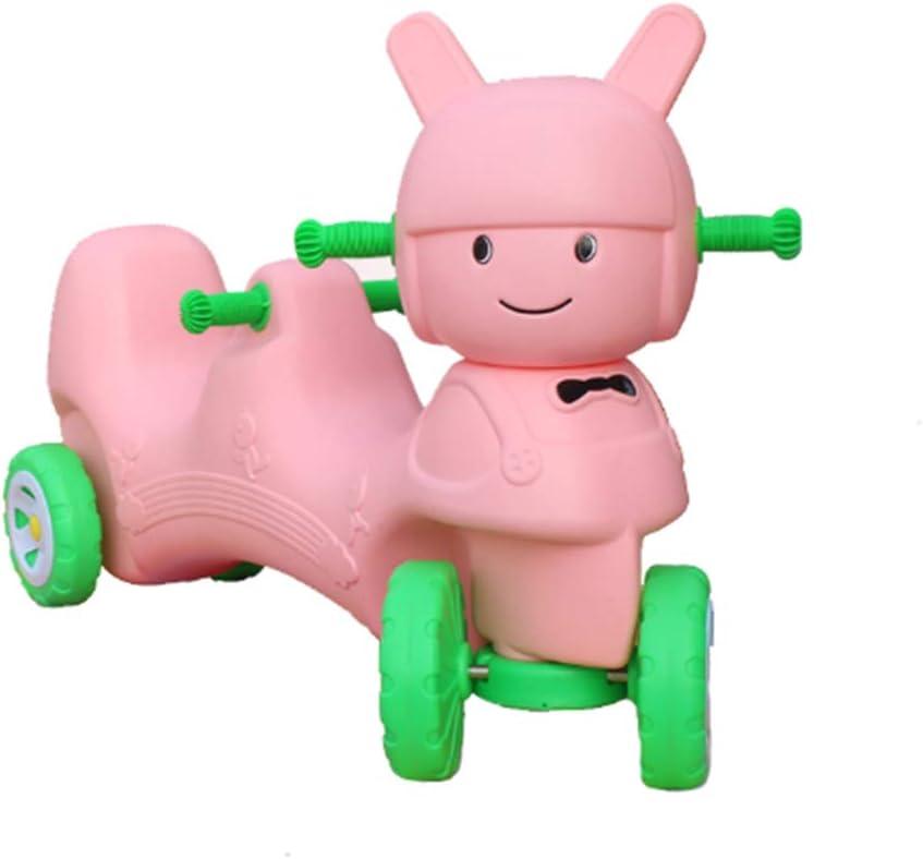 LGLE Scooter Balance Car Niños Bici sin Pedales Niño Yo-Yo Cars Cuatro Ruedas Doble Kindergarten Niños Juguetes al Aire Libre Deportes de Interior,Pink-Doll-Tandem