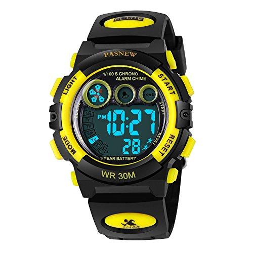 AZLAND Waterproof Boys Watch Kids Digital Sports Watch Childrens for Teens (Yellow)