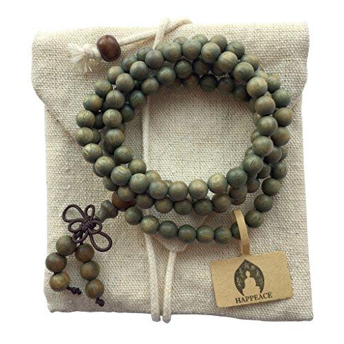 HAPPEACE 6mm Natural Fragrant Green Sandalwood 108 Mala Beads – Tibetan Buddhism Prayer Beads