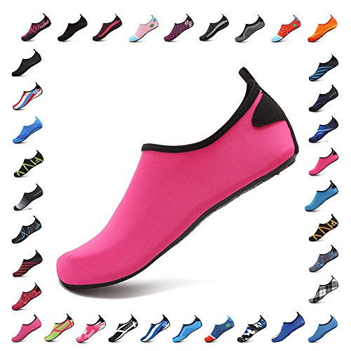 CIOR Water Shoes Men Women Barefoot Skin Aqua Shoesfor Beach Pool Surf Yoga Exercise 3.rose Red