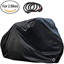 Waterproof Bike Cover for 2 Bikes Outdoor Storage with Free Lock - 190T Polyester Cloth - Rain Sun Protection & Anti-UV for transport