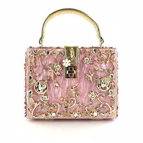 Incliné Acrylique Soirée Robe Pink Fourre de Bandoulière Sac Mariée à Tout Gravé Stéréo EPdOqP