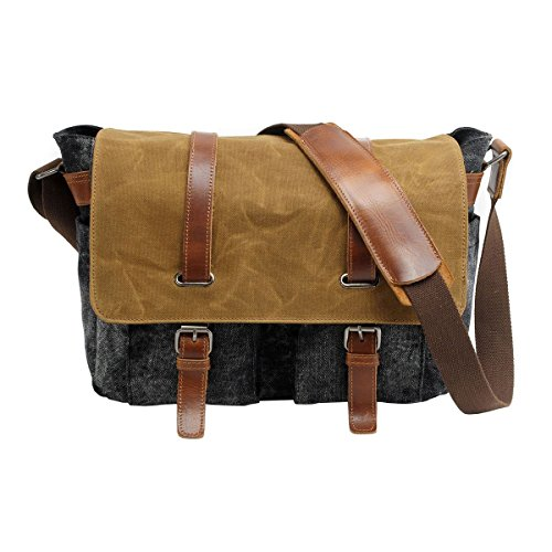 VRIKOO Casual Vintage Waterproof Canvas DSLR SLR Camera Shoulder Messenger Bag for Outdoor Hiking Travel (Dark Grey) Gris Oscuro