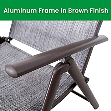 Crestlive Products Aluminum Beach Yard Pool Folding Recliner Adjustable Chaise Lounge Chair and Table Set All Weather for Outdoor Indoor, Brown Frame Black Gray