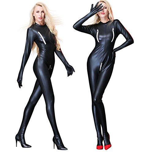 Zipper Da Sexy apertura Festa ecopelle Lingerie wear Spogliarellista Abito nero Latex completo Erotic sul cavallo Catsuit Club Pole tuta PVC femmina Stretch Clubwear con nero Dance 6Xqfwad
