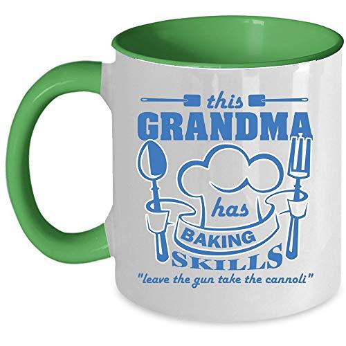 Funny Baking Mug, Cool Gift For Grandmas Coffee Mug, This Grandma Has Baking Skills Accent Mug, Unique Gift Idea for Women (Accent Mug - Green)