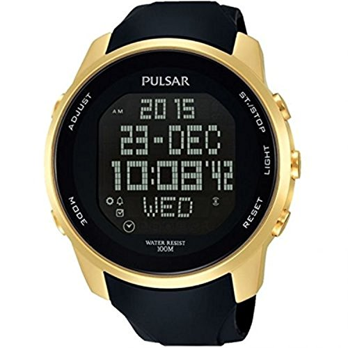 Pulsar Rubber Watch (Pulsar Mens Digital Gold Plated Case Black Rubber PQ2048X1)