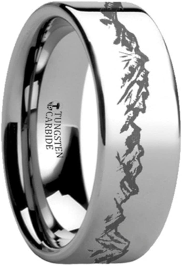 Thorsten Peaks Mountain Range Outdoors Landscape Ring Flat Tungsten Ring 4mm Wide Wedding Band from Roy Rose Jewelry