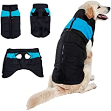 BESAZW Dog Winter Coat Vest Windproof Warm Dog Clothes Jacket Plus Size for Cold Weather Dog Outdoor Extra Protection Down Jacket for Small Medium Large Dogs,Blue XL