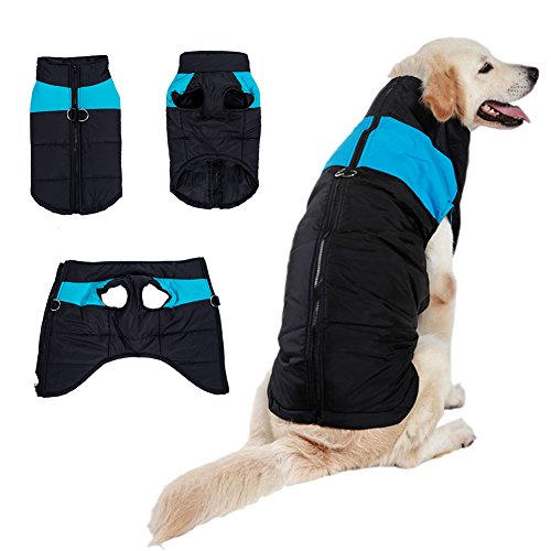BESAZW Dog Coat for Winter Warm Dog Vest Plus Size for Cold Weather Outdoor Extra Protection Down Jacket for Extra Large Dogs (L,Blue)
