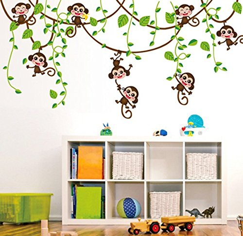 TOTOMO #W146 Eight Monkey Wall Decals Removable Wall Decor Decorative Painting Supplies & Wall Treatments Stickers for Girls Kids Living Room Bedroom