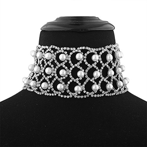 Elegant Lady Stylish Claw Chain Simulated Pearls Inlaid Wide Choker Bib Collar Statement Necklace (Pearl Neck Chain)