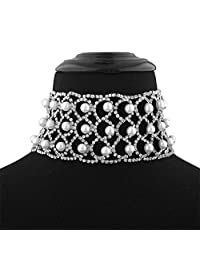 Elegant Lady Stylish Claw Chain Simulated Pearls Inlaid Wide Choker Bib Collar Statement Necklace