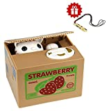 HmiL-U Toy Banks Automatic cat Stealing Coins Birthday&Christmas gifts for kidsWith A Free Ceramic Whistle (Strawberry-Cat)