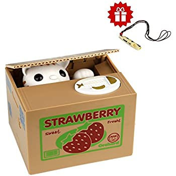 Amazon stealing coin bank kitty cat by spark toys games toy banks hmil u automatic cat stealing coins birthdaychristmas gifts for kidswith a free ceramic whistle strawberry cat publicscrutiny Choice Image