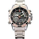 New SHARK Digital Alarm Day Date Stainless Mens Sport Wrist Watch Golden Dial SH051, Watch Central