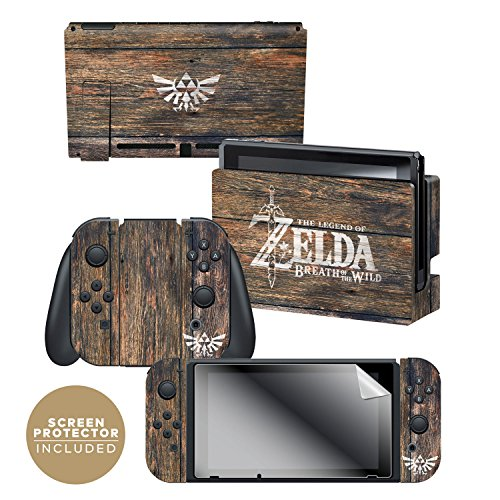 "Price comparison product image The Legend of Zelda™ Breath of the Wild ""Woodgrain Triforce"" Skin and Screen Protector Set For The Nintendo Switch - Officially Licensed by Nintendo"