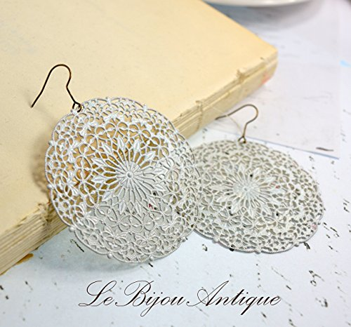 White earrings hoops large discs boho rounds lace doily moroccan